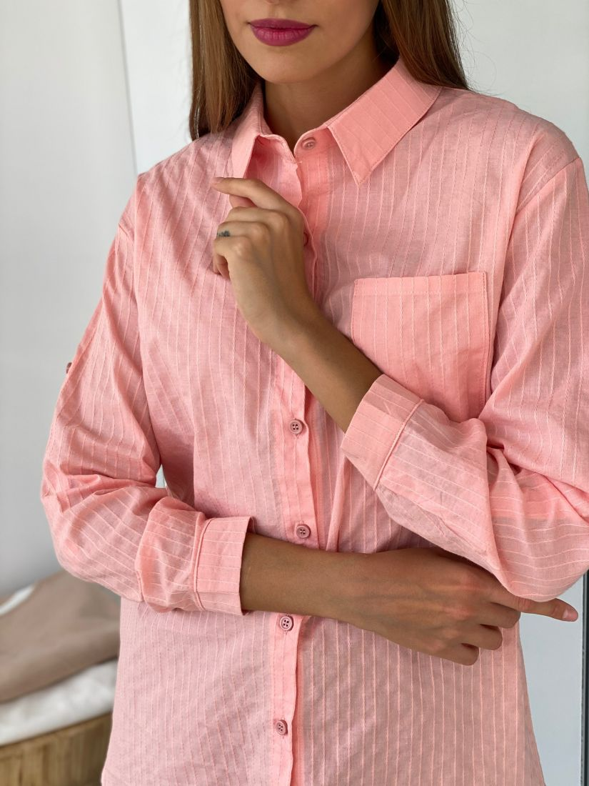 s2625 Удлинённая блуза розовая