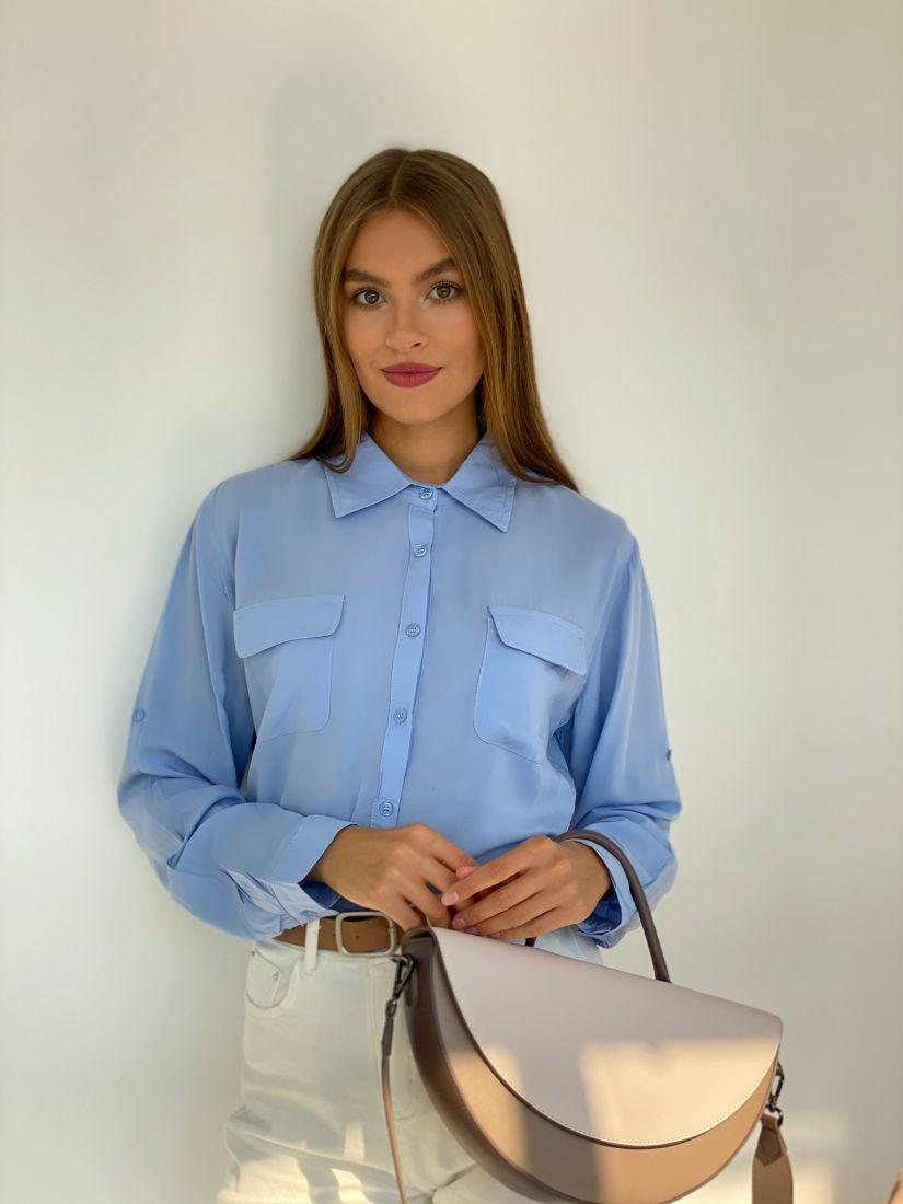s2627 Рубашка с клапанами голубая