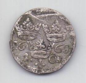 1 оре - эре 1668 года Швеция XF