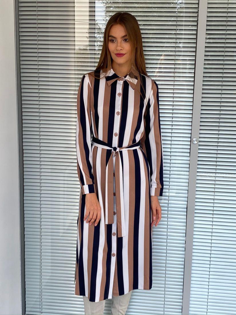 s2633 Платье рубашка с итальянскую полоску кофейное