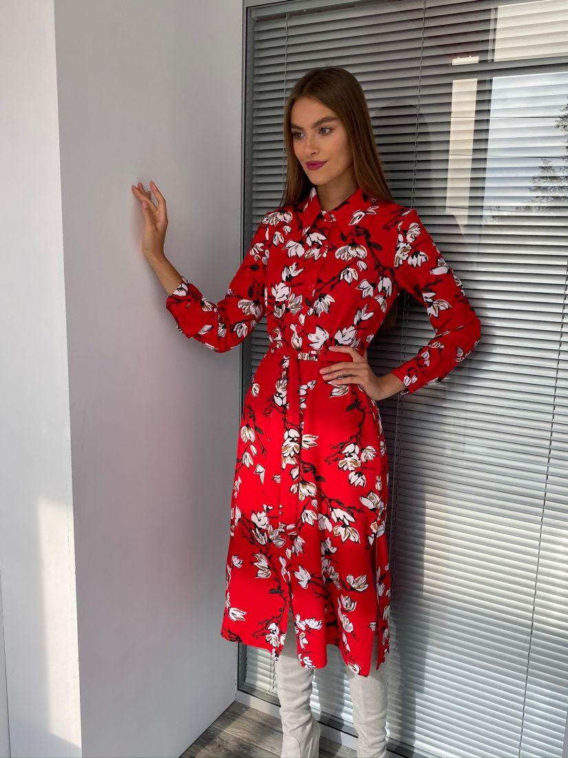 s2636 Платье-рубашка красное с цветочным принтом