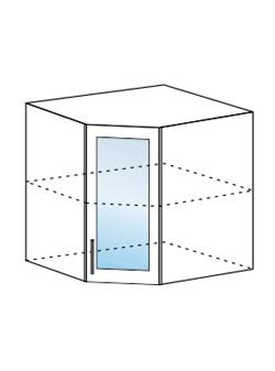Шкаф верхний угловой со стеклом Юлия ШВУС 550