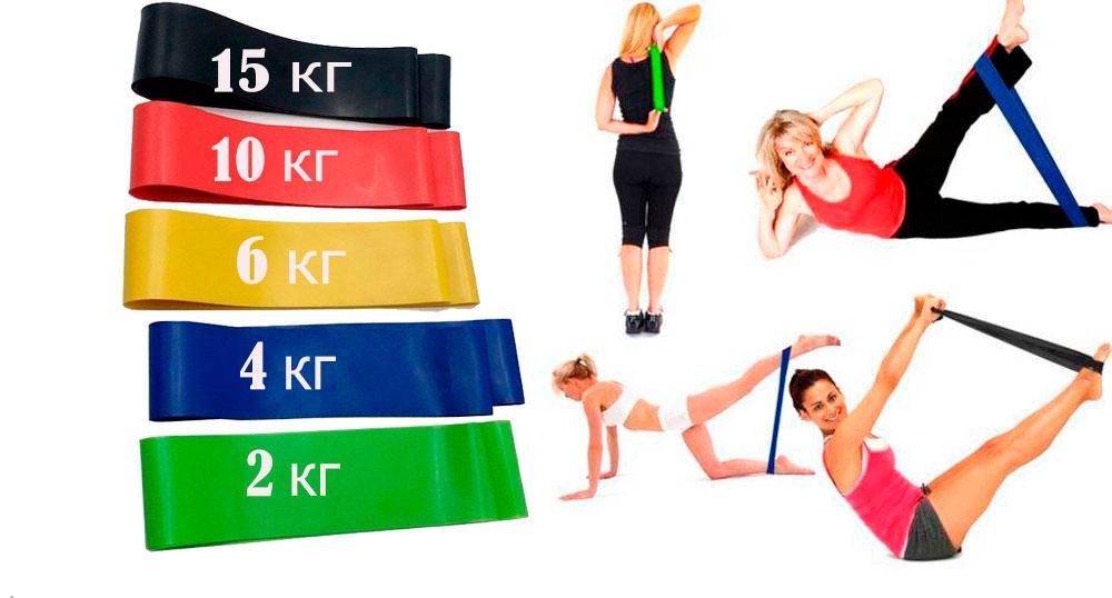 Набор резинок для фитнеса различной нагрузки ( 5 шт)