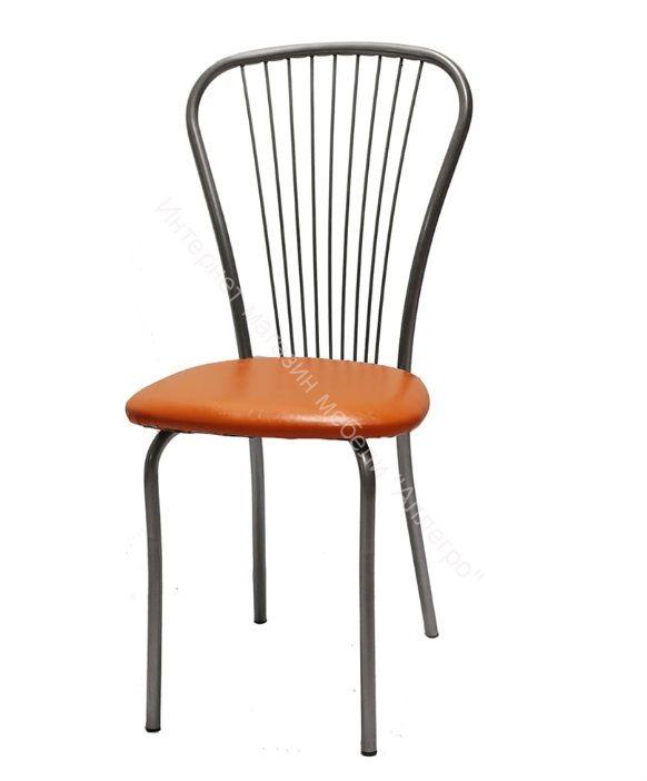 """Кухонный стул """"Лайт 1"""" апельсин/серебристый металлик"""