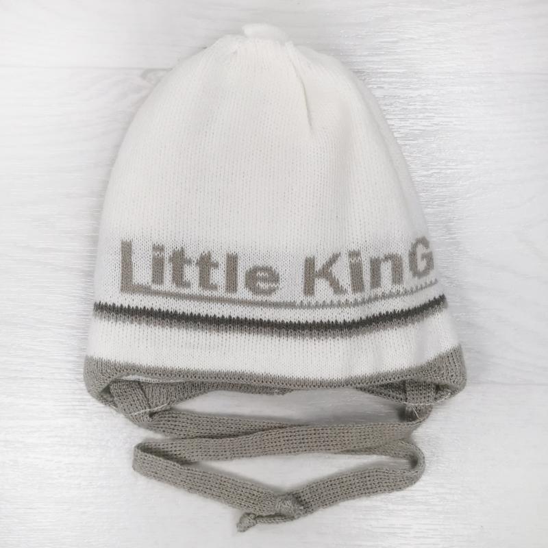 зн1023-32 Шапка вязаная на завязках с отворотом Little King молочная