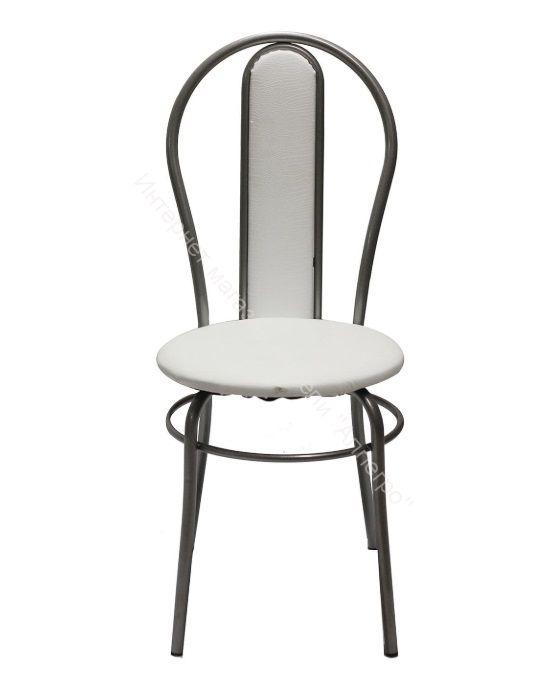 """Кухонный стул """"Элегия мягкий"""" белая рептилия/серебристый металлик"""
