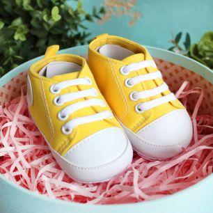 Кеды на шнурках желтые 11 см
