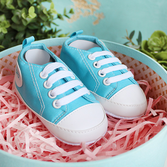 Кеды на шнурках голубые 11 см