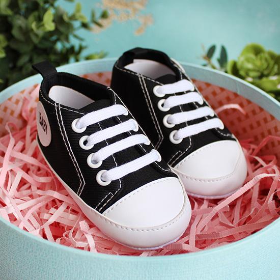 Кеды на шнурках черные 11 см