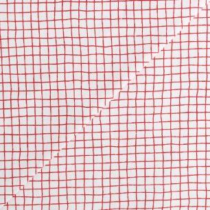 Хлопок - Красно-белая клетка 50х40