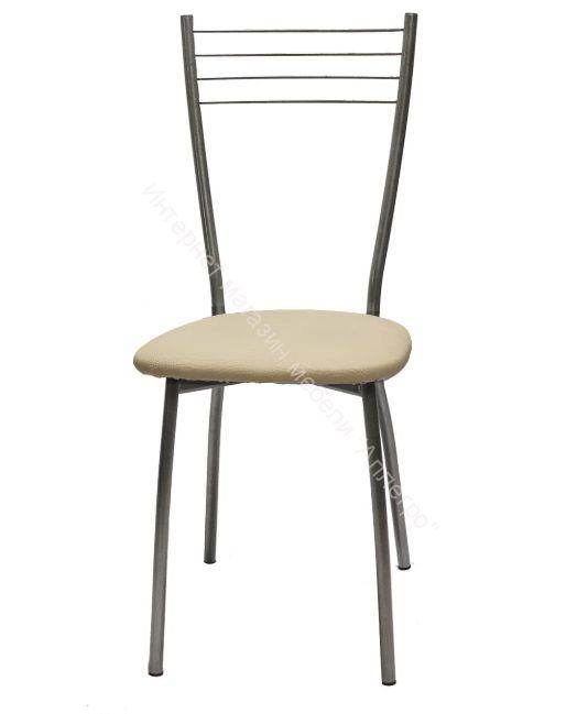 "Кухонный стул ""Сильвия"" молочная рептилия/серебристый металлик"