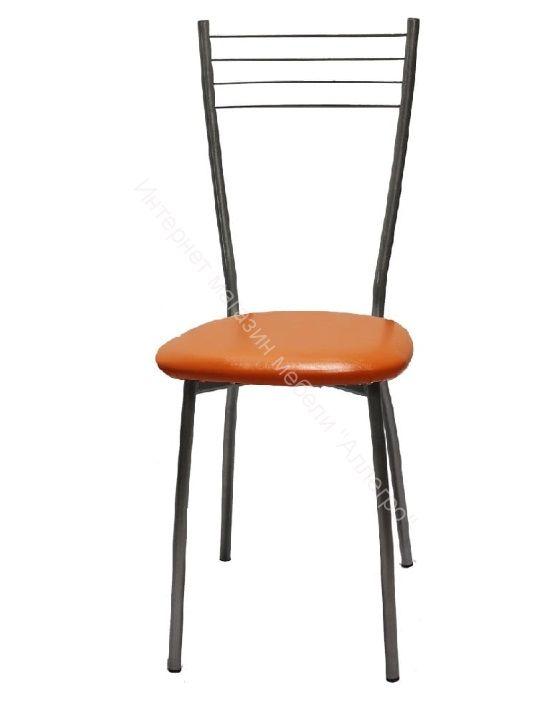 """Кухонный стул """"Сильвия"""" апельсин/серебристый металлик"""