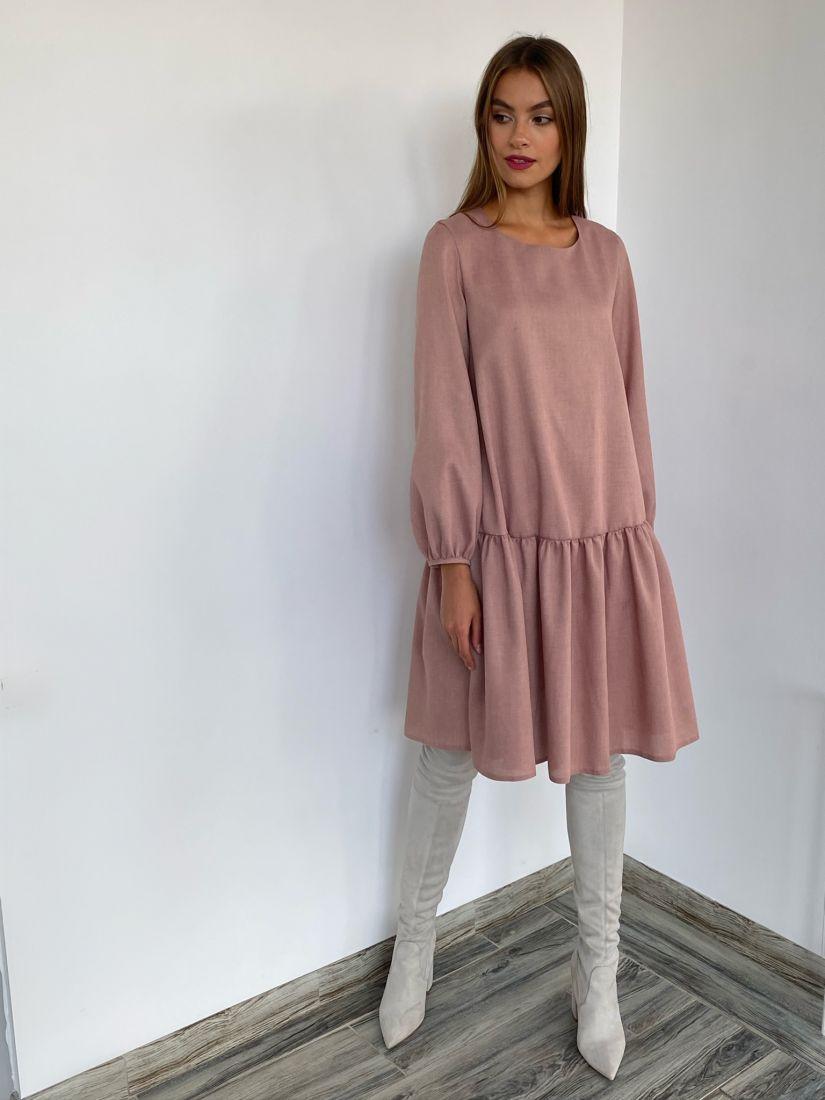 s2668 Платье свободного силуэта пудровое