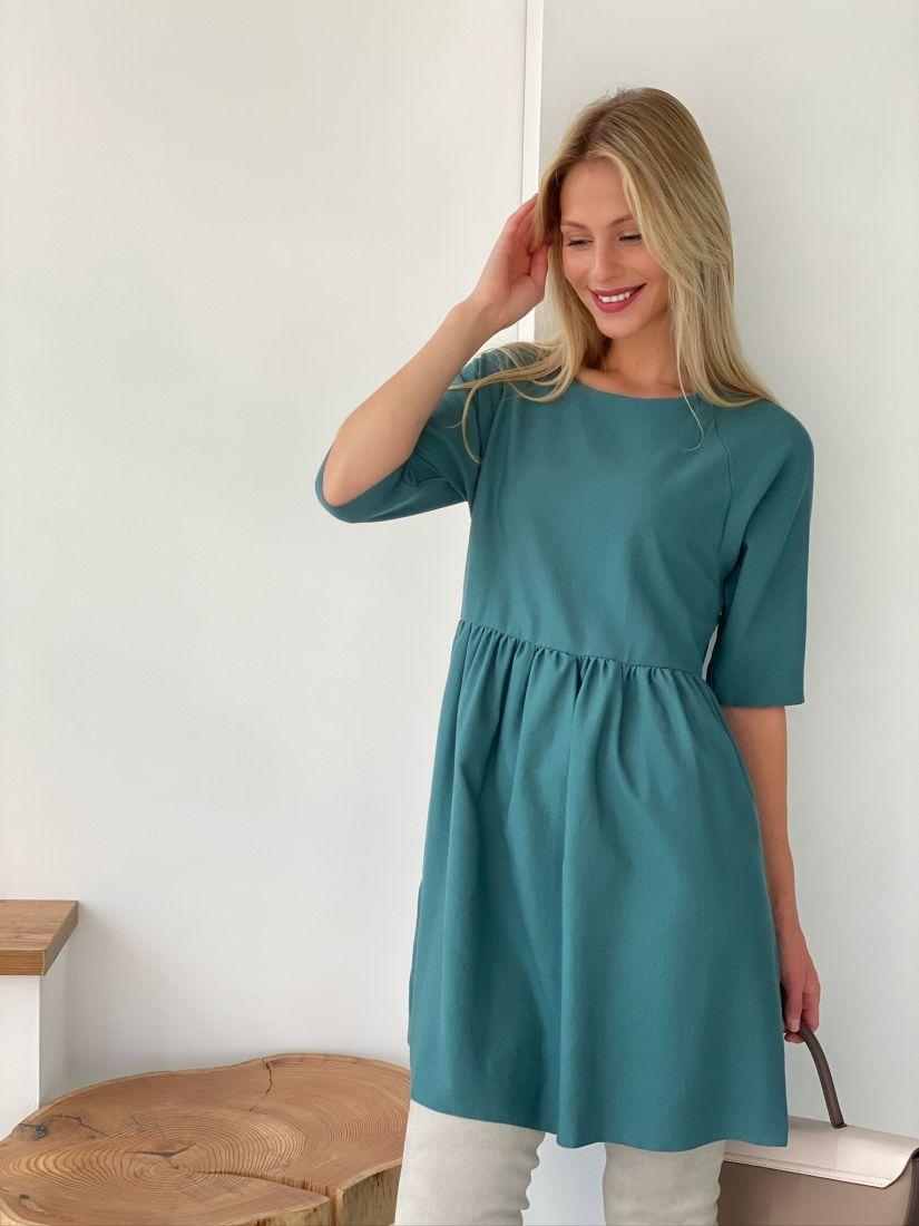 s2685 Платье из микровельвета сине-зелёное