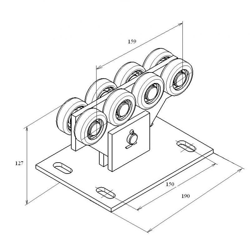 Опора ролика облегченная сдвижных ворот для балки 71х60х3.5 мм (DHE700)