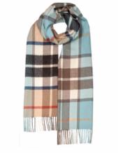Большой теплый шотландский шарф 100% шерсть ягнёнка , тартан  Дарвин Опаловый  Томсон Кэмэл + DARWIN OPAL/CAMEL THOMSON OVERSIZED LAMBSWOOL SCARF плотность 6