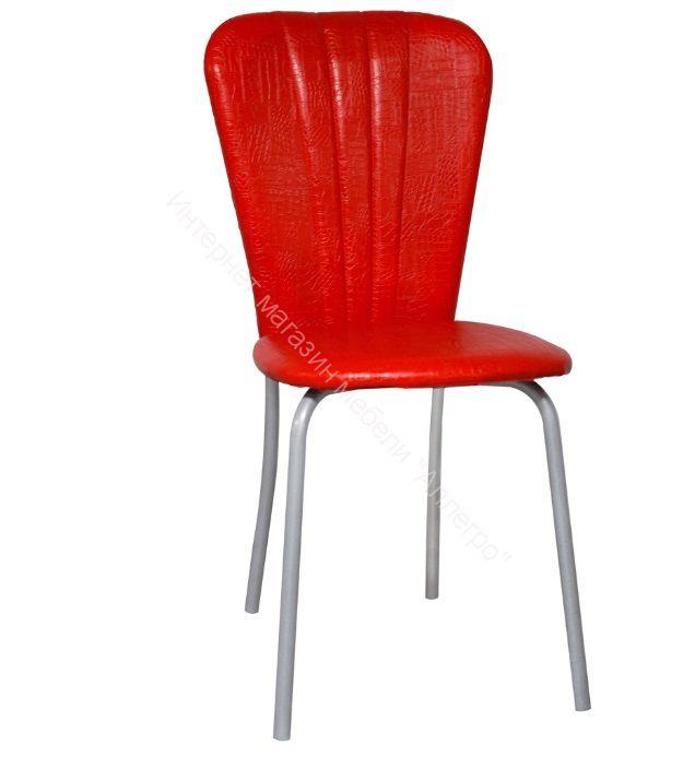 "Кухонный стул ""Кафе 2"" красная рептилия/серебристый металлик"