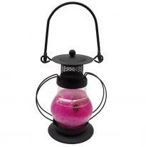 Гелевая свеча Чёрная Керосиновая Лампа, 13 см., розовый