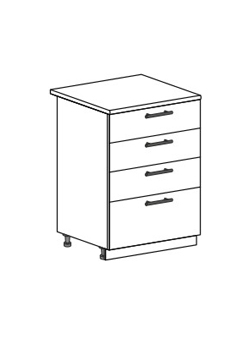 Шкаф нижний с 2 ящиками Юлия ШН4Я 600