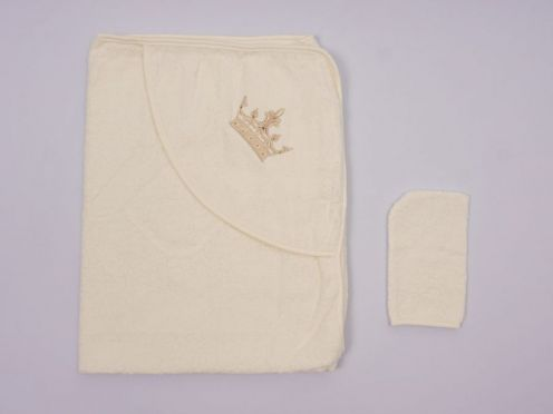 Купальное полотенце с уголком махра 2V-KM002-MA /вышивка корона/ беж