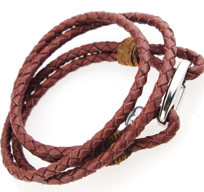 Двойной плетеный кожаный браслет