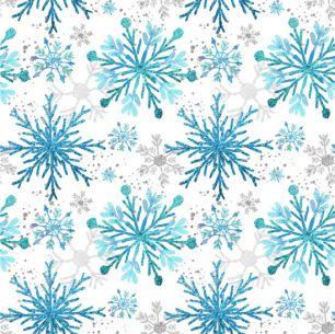 Лоскут трикотажной ткани - Голубые снежинки 50х40 см
