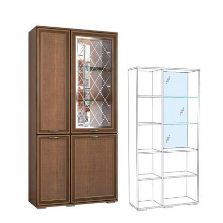 Шкаф с полками и витриной Ливорно ЛШ-6