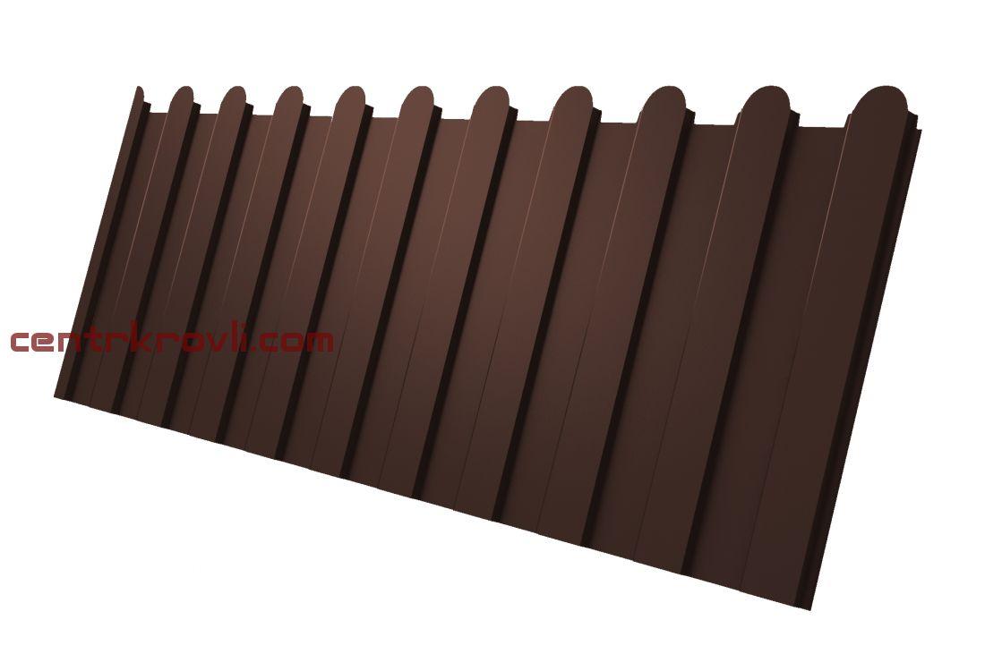 Профнастил С8А фигурный 0,45 PE с пленкой RAL 8017 шоколад 2м