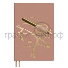 Ежедневник А5 недат.Феникс+ САРИФ петля для ручки розовый Дама 120л. 52885