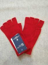 кашемировые вязаные гловелетты женские (100% драгоценный кашемир) , цвет Алый. CLASSIC RED FINGERLESS CASHMERE GLOVES