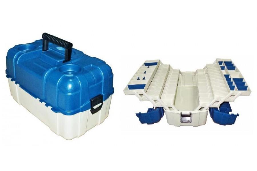 Ящик 6 полок полочный для рыболовных снастей 490 х 270 х 250 мм синий 2706