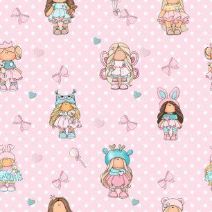 Лоскут трикотажной ткани - Арт девочки на розовом 50х40 см