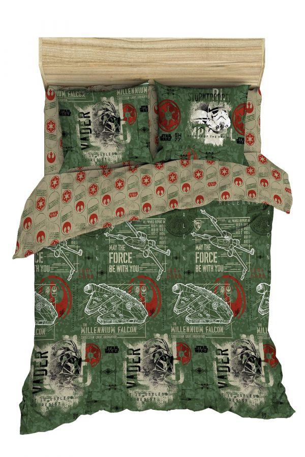 Поплин 2-х спальный [зеленый] Звёздные войны 70139 2,0 сп постельное белье
