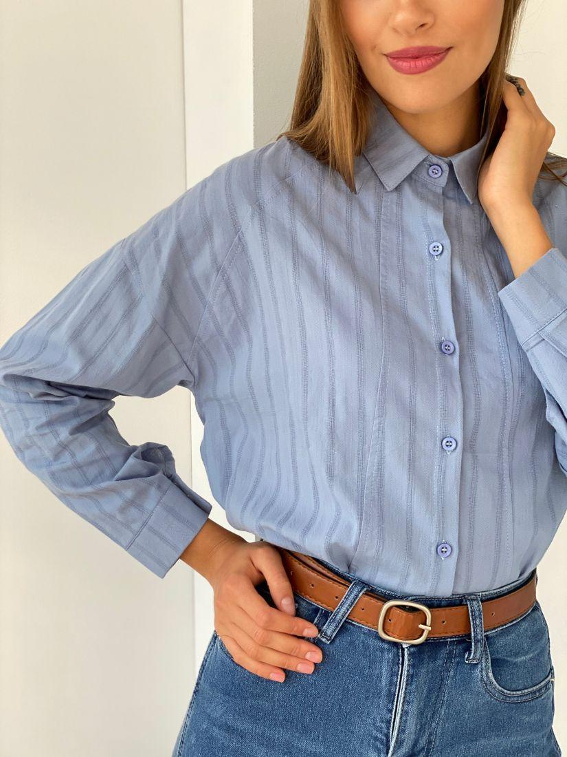 s2698 Рубашка в полоску голубая хлопковая