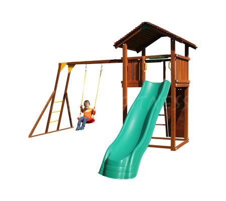 Детский городок Jungle Gym Cottage+ Rock + Рукоход с качелей
