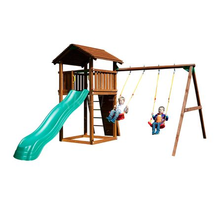 Детский городок Jungle Gym Cottage+SwingModule Xtra+RockModule