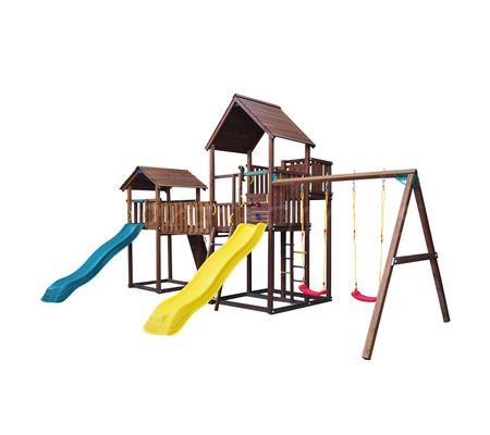 Детский городок Jungle Gym Palace + Cottage + Bridge Link + Swing + Rock