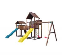 Детский городок Jungle Gym Palace + Cottage + Bridge Link + Swing + Rock