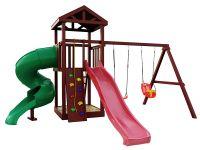 Деревянная детская площадка IgraGrad Панда Фани с винтовой трубой