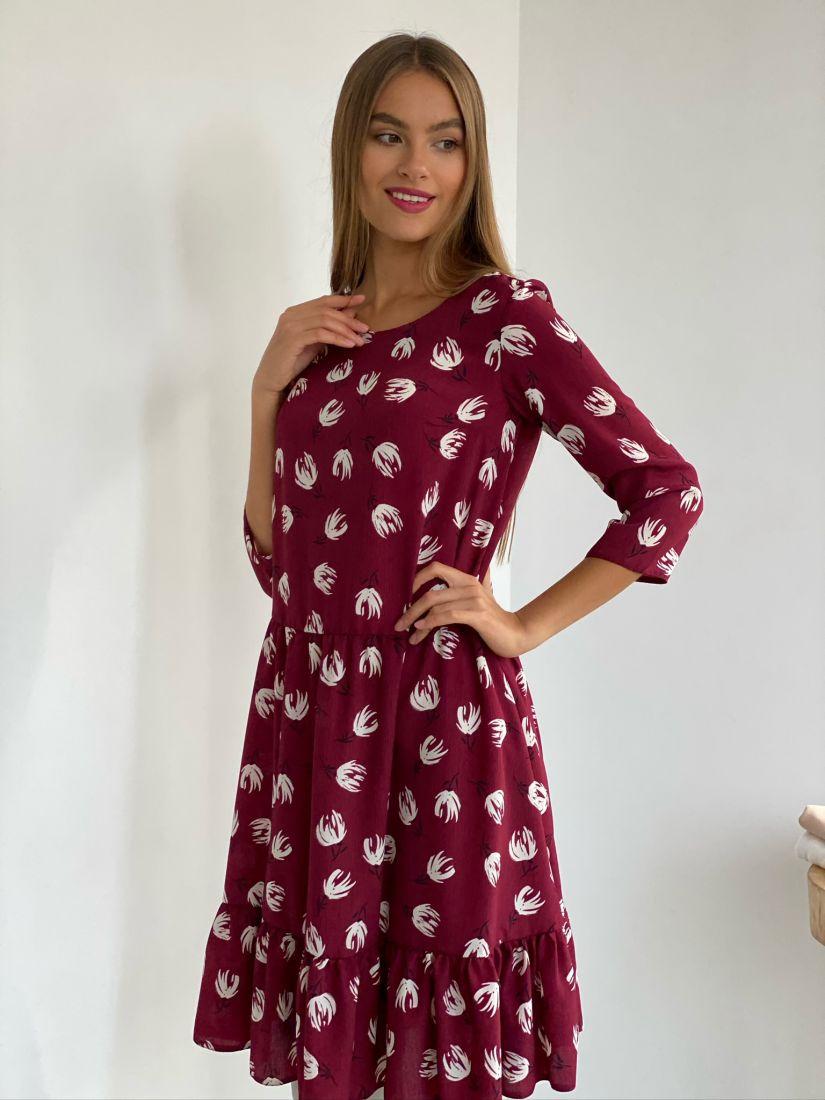 s2722 Платье бордовое с принтом