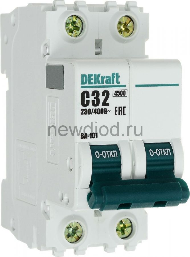 DEKraft Авт. выкл. 2Р 32А х-ка C ВА-101 4,5кА