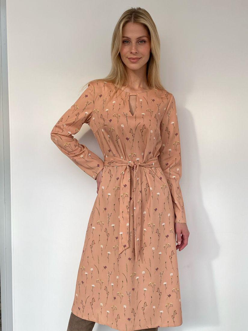 s2733 Платье из костюмного хлопка бежевое с веточками