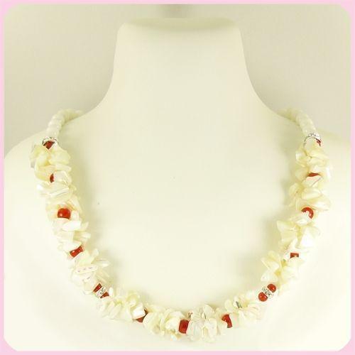 Ожерелье - Афродита - из перламутра, коралла, агата, фианита