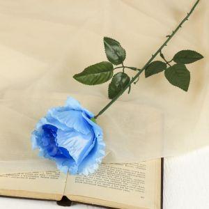 """Цветок искусственный """"Резная роза"""" синяя"""