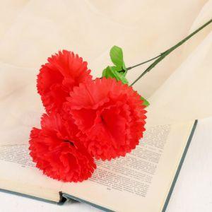 """Цветы искусственные """"Гвоздика трио"""" 11*58 см, красный   4560208"""