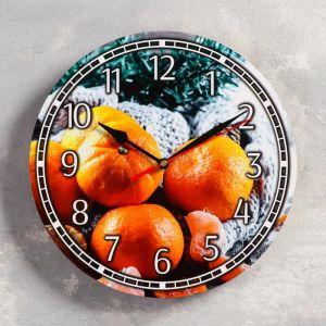 """Часы настенные, серия: Новый год, """"Мандарины"""", d=24 см, плавный ход 5307578"""