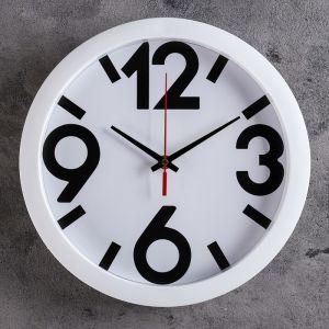 """Часы настенные """"Классика"""", 4 большие цифры, белый обод, 28х28 см"""