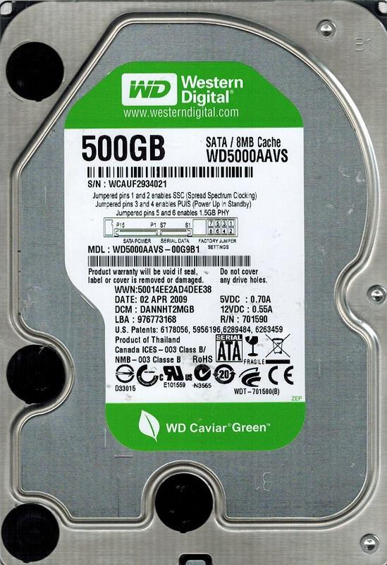 Накопитель HDD SATA  500GB WD Caviar Green 8MB (WD5000AAVS) гар. 12 мес. Refurbished