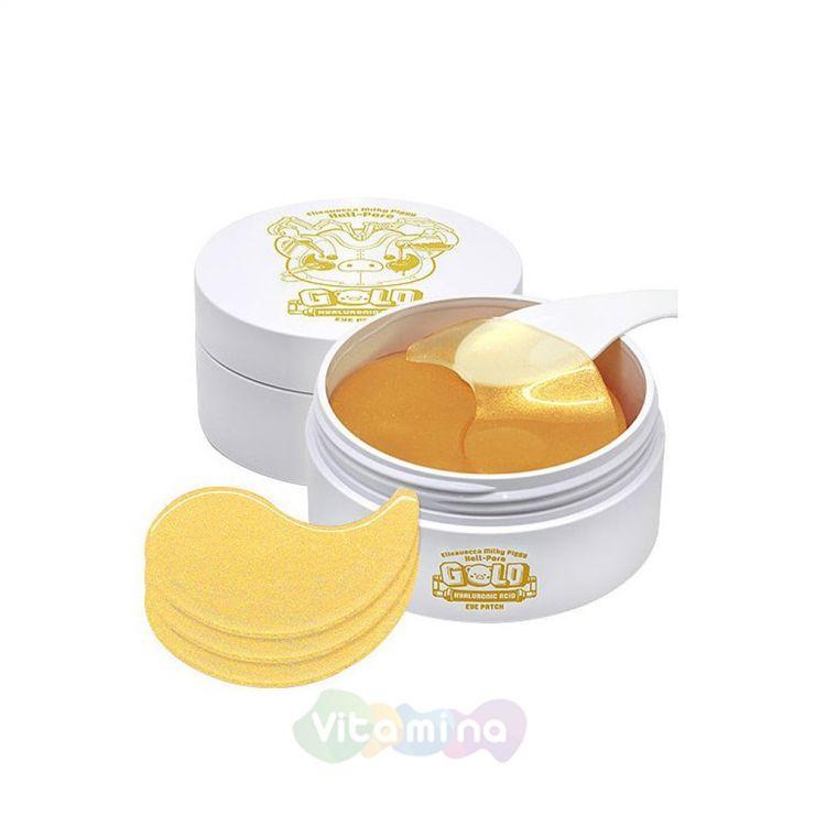 Elizavecca Гидрогелевые патчи с золотом и гиалуроновой кислотой для кожи вокруг глаз Milky Piggy Hell-Pore Gold Hyaluronic Acid Eye Patch, 60 шт