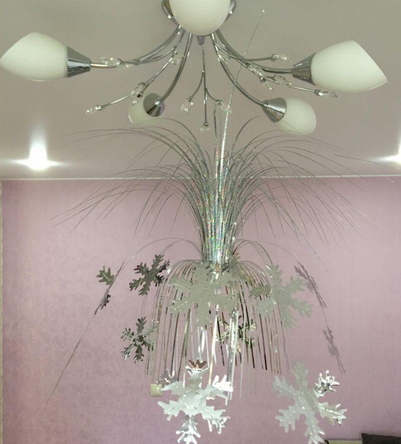 Подвесной фольгированный фонтан-каскад, 55 см ( Снежинки)